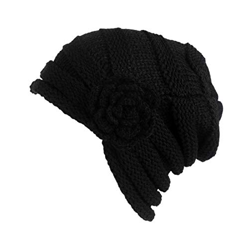 URIBAKE Women's Winter Wool Knitting Hat Turban Brim Hat Cap Pile Cap Floral ()