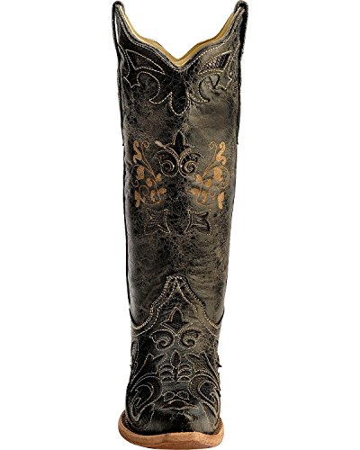 Vintage With Snip Lizard 9 Women's Boot Distressed Cowgirl Inlay CORRAL Black M Toe US tS85qRw8
