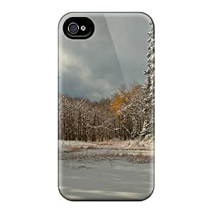 Unique Design Iphone 4/4s Durable Tpu Case Cover Lovely Winter Forest Scene