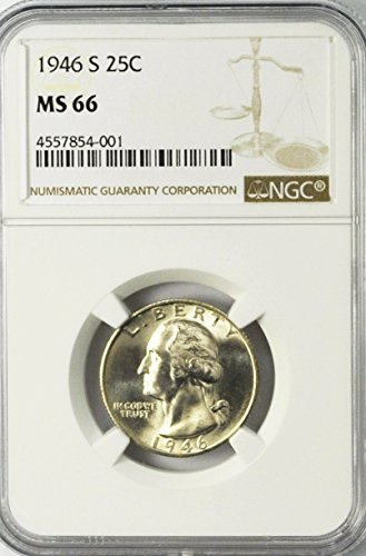 1946 S Washington Quarter Brilliant Uncirculated 25c MS66 NGC