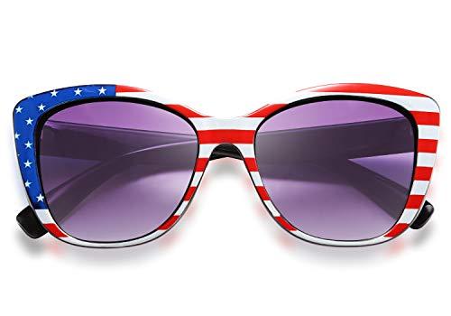 FEISEDY Polarized Vintage Sunglasses American Square Jackie O Cat Eye Sunglasses B2451 (American flag, 56) -