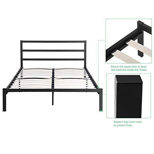 GreenForest Bed Frame Full Size Metal Bed Platform with Wood Slats No Box Spring Needed Mattress Foundation Heavy Duty Support Black