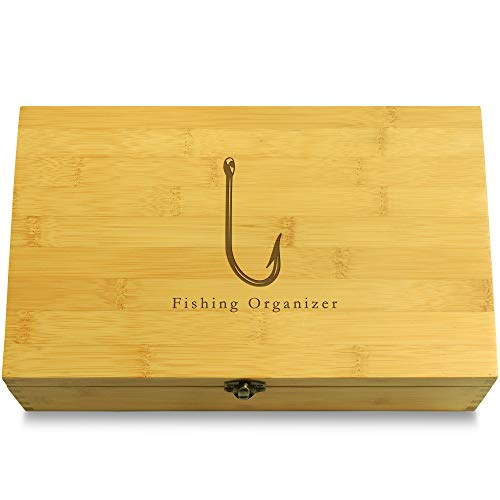 Cookbook People Fish Hook Lure Fishing Multikeep Box - Keepsake Sustainable Bamboo Adjustable Organizer
