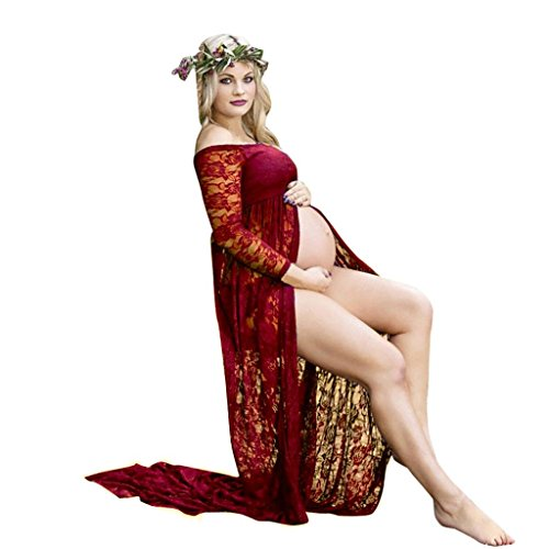 Maternity Dress, Womens Sexy Front Split Off Shoulder Long Sleeve Lace Maternity Dress for Photoshoot (XL, Red)