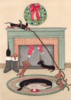 Amazon.com: 12 Christmas cards: Dachshund (doxie) family all ...