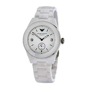 Emporio Armani AR1425 - Reloj analógico de cuarzo para mujer con correa de cerámica, color blanco
