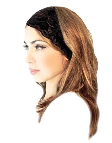 ShariRose Black Floral Lace Head-Band Handmade (Everyday Black) -