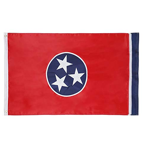 Tennessee Flag State (Cascade Point Flags 3x5 Feet State Flag – Embroidered Oxford 210D Heavy Duty Nylon, Durable and Long Lasting - 4 Stitch Hemming - Brass Grommets (Tennessee))