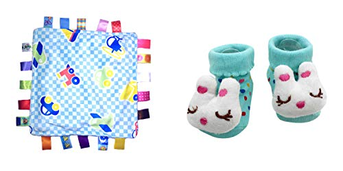 New Cute Baby Spring Cat Easter Bunny & Little Taggie Vehicle Blanket Theme 2-Pack 3-12 Months w/Gift Box ()