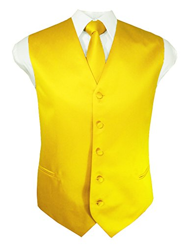 Guytalk Mens 3 Piece Tuxedo Vest for Formal Party, Wedding, Prom, Bartender Medium Yellow