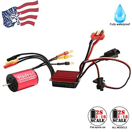 Sensorless Brushless Motor Visdron 2430 5800KV Fully Waterproof +25A ESC +Speed ControllerProgramming Card for 1/16 1/18 RC Car (Red, 7200KV Motor+ ESC+Card)