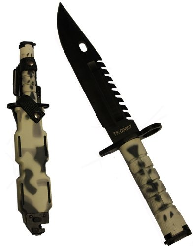 Ultimate Arms Gear Tactical Limited Edition Urban / Snow Camo Camouflage Special Forces Series M9 M-9 Military Sawback Survival Stealth Black Blade Bayonet Knife With Tactical Sheath (Special Tactical Digital Camo Handle)