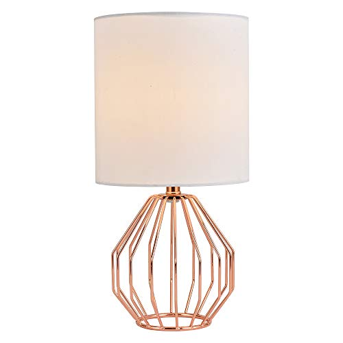 COTULIN Table Lamp,Modern Hollowed Out Small Bedside Lamp with Metal Base and White Fabric Shade for Living Room Bedroom,Rose Gold
