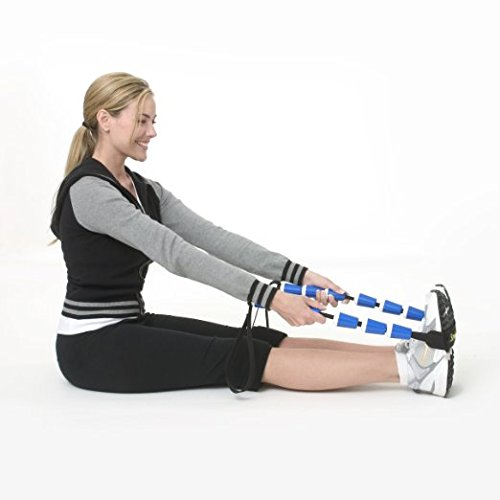 StretchRite Physical Therapy Full Body Stretching Strap with Patented Easy Grip Handles for Sore and Tight Muscles - Includes Coaching Guide (Blue/White)