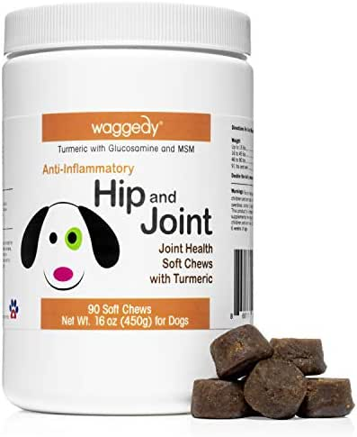 waggedy Advanced Hip, Joint and Cartilage Supplement for Dogs – All Natural Turmeric Curcumin Glucosamine MSM Soft Chews for Dogs/Anti-Inflammatory Anti-Oxidant Made in The US …