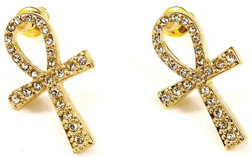 GWOOD Ankh Earrings Iced Out Gold Color Post Style Positive Spirit Egyptian
