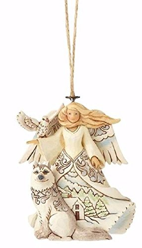 (Enesco Jim Shore Heartwood Creek White Woodland Angel with Husky Stone Resin, 4
