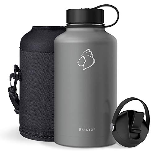 BUZIO Insulated Water Bottle with Straw Lid and Flex Cap, 32oz, 40oz, 64oz, 87oz Modern Double Vacuum Stainless Steel…