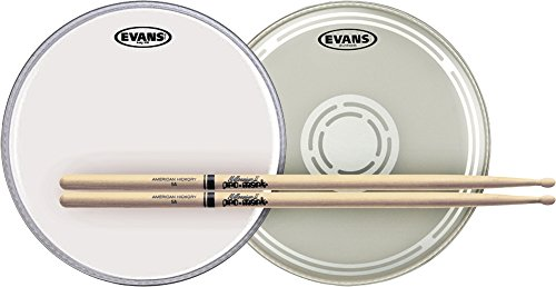 Evans EC Reverse Dot Snare Batter and Snare Side Head Pack with Free Pair of Pro-Mark Sticks Wood 5A ()