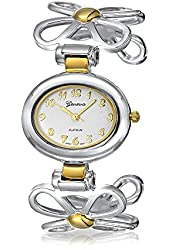 Mothers Day Jewelry Geneva Two Tone Daisy Flower Gold Plated Fashion Cuff Watch