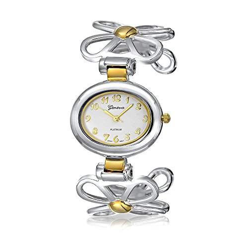 Two Tone Open Daisy Flower Band White Oval Dial Cuff Wrist Watch for Women Gold Plated Silver Tone Metal Analog -