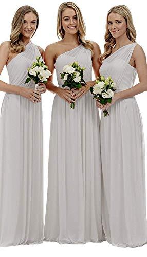 b74c2d639c Women's One Shoulder Bridesmaid Dress Long Chiffon Evening Gown Light Grey  US16