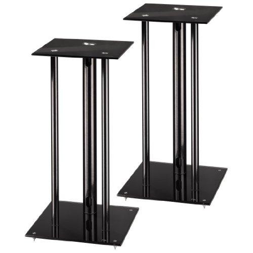 Hama Lautsprecherständer 2er-Set, Höhe 64 cm, je 30 kg belastbar, mit Spikes und Kabelkanal, schwarz
