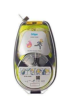 M/áscara de Escape respiratoria ergon/ómica con Filtro CO P2 Protecci/ón Ante Gases de Incendio vapores y combusti/ón Dr/äger PARAT 5510