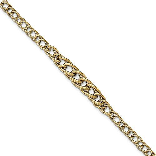Or 14ct texturé Fancy-Bracelet Femme-Lien Poli 20cm