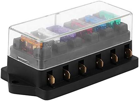 KIMISS Caja de fusibles de 6 vías, Bloque de fusibles de caja de ...