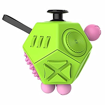 Oliasports Fidget Cube Relieves Stress And Anxiety Toy-12 Side-Green&Pink
