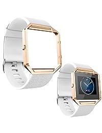 ABC Luxury Soft Silicone Wrist Strap Watch Band + Metal Frame for Fitbit Blaze Watch (White )