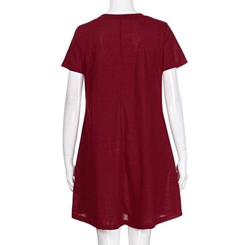 Mode Solide Plaine D't Plisse Shirt Lache Vin Femmes Rouge Robe TiaQ Casual T Robe Simple Poche FwqdPY