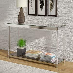 Glass Console Table with Metal Base - Rectangular Console Table with Shelf - ()