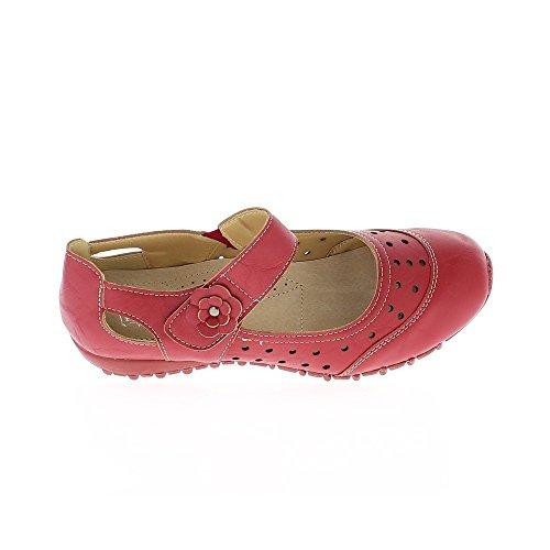 Chaussures femme rouges confort décors trous légères