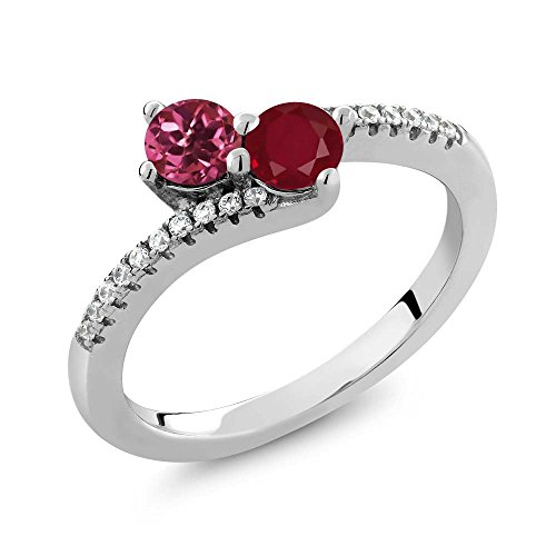 0.78 Ct Round Pink Tourmaline Red Ruby Two Stone 925 Sterling Silver Bypass Ring (Red Stone Tourmaline)
