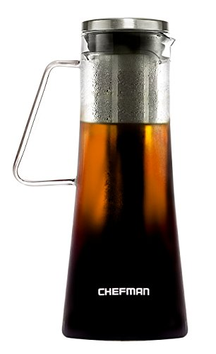 Chefman Cold Brew Coffee Maker, Brews Best Hot/Iced Coffee & Tea, Laser Cut Filter/Tea Infuser Included, Airtight Dishwasher Safe Borosilicate Glass Carafe w/ Stainless Steel Lid 1L/34oz