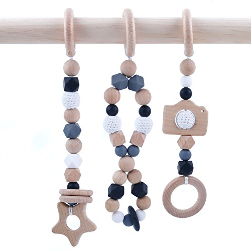 (HAO JIE Baby Play Gym Toys - Set of 3 Modern Beech Wooden Teether Baby Activity Gym Hanging Toy Silicone Teething Beads)