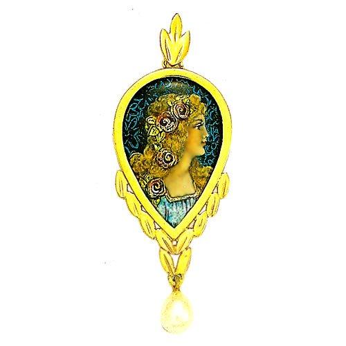 Souvenirs de France - Pendentif Émail de Limoges Style 'Romantique' et Perle Authentique