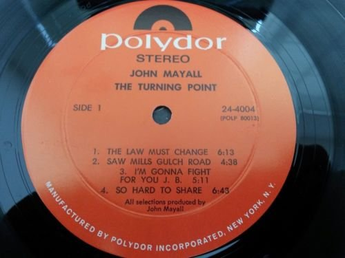 JOHN MAYALL The Turning Point LP Vinyl VG++ Cover VG+ 1969 Blues Polydor