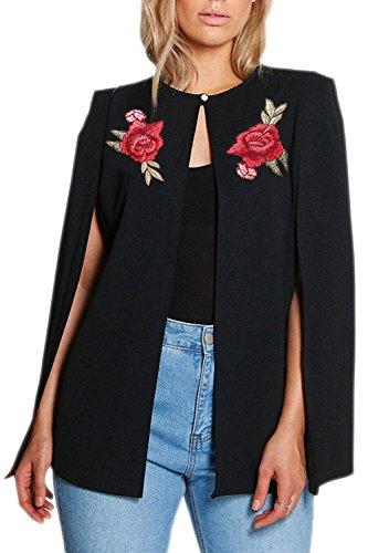 La Femme Est lgant Brods Avant Ouvert L'automne Chale Poncho Veste Blazer Trenchcoat Black