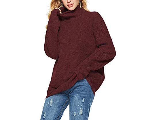 colorful-space Striped Knitted Long Sweater Turtleneck Loose Pullovers Casual Befree Jumper Female,Burgundy,S]()