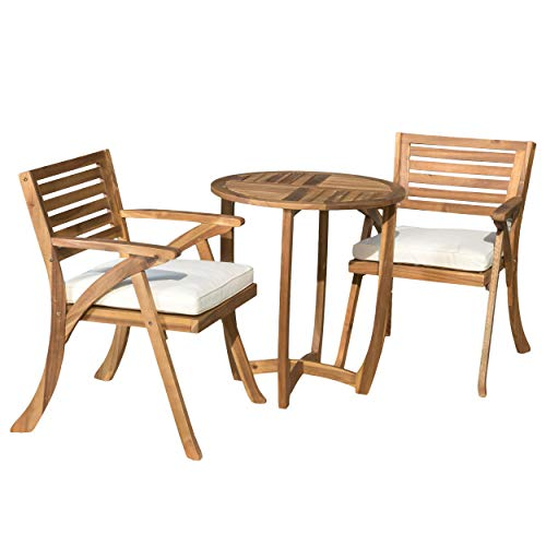 Great Deal Furniture 296621 Toulon Teak Finish Acacia Wood 3pc Bistro Set