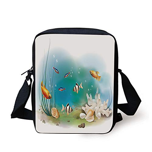 Aquarium,Hawaiian Pacific Fauna with Different Fishes Oceanic Plants and Seashells Decorative,White Teal Orange Print Kids Crossbody Messenger Bag Purse
