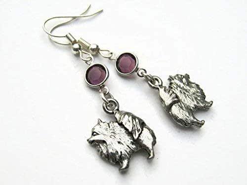 Personalized Sterling Silver Plated Dog Charm Earrings Pomeranian Birthstone Earrings Pet Jewelry Gift
