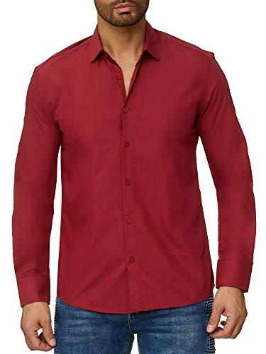 Reslad Herren Hemd Slim Fit Bügelleicht Freizeithemd Businesshemd Hochzeit Hemden Anzug Uni Einfarbige Männerhemden RS-7002