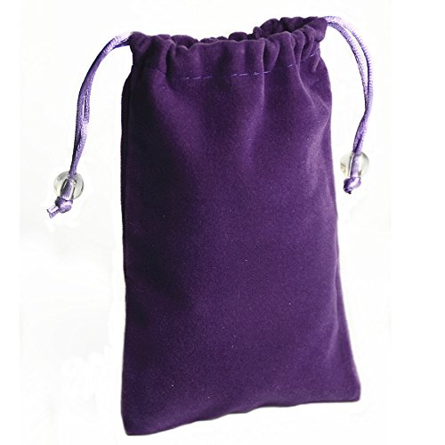 SOSAM 2 Pack Microfiber Sleeve Pouch Cover Case Pouch with Drawstring Closure For iphone 6 6plus iphone 5 5S Mini Wallet Purse Hand Bag Cloth Coin Cell Phone Bag Mobile Pouch (Purple) ()
