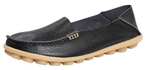 Women Leather Shoes Color Flats Slip On Loafers Black - 1