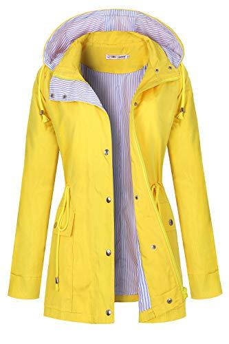 (BBX Lephsnt Raincoat Women Waterproof Long Hooded Trench Coats Lined Windbreaker Travel Jacket Light Yellow)