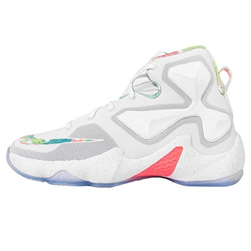 Nike Kids Lebron XIII GS, EASTER-WHITE/BLACK-BRIGHT MANGO-ACTION GREEN, Youth Size 5.5 by NIKE